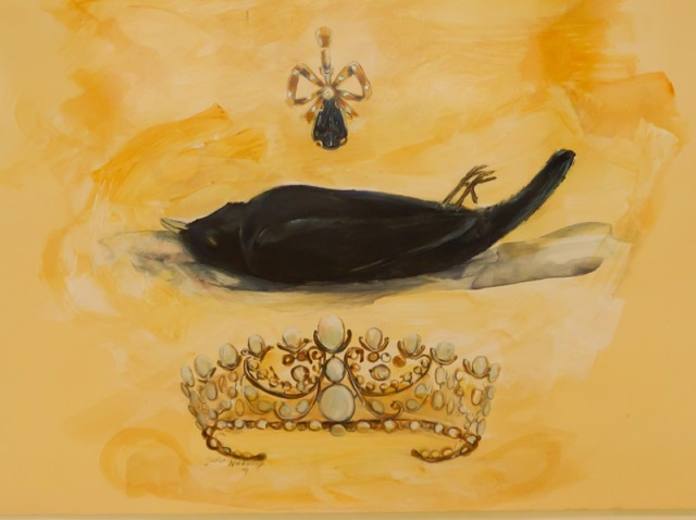 The King is Dead - acrylic and pencil on found paper - Julie Niekamp