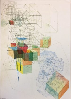 Kate Zizys - Tesseract 3 - etching and watercolour
