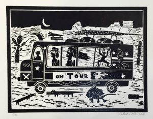 Peter Cole - On Tour - linocut