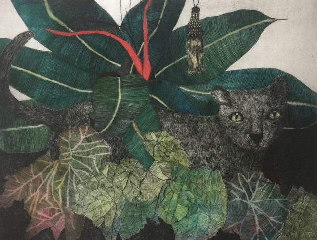 3. In the Jungle - hand coloured etching - edition 30. Plate Size 30x40. Frame Size 56 x 64cm. Unframed $380. Framed $585