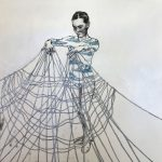 Safety Net - monoprint, paint, pen and ink - Kerry Spokes