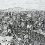 Lazauskas View from the Ramparts North - charcoal on paper
