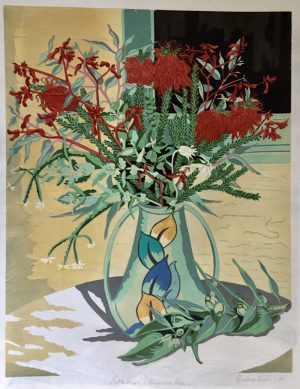 Bottlebrush and Kangaroo Paw - reduction linocut - Rosalind Forster