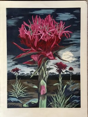 Gymea - reduction linocut - Rosalind Forster