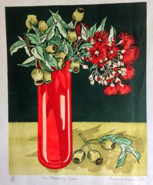 Red Flowering gums. (multiblock lino cut)- Rosalind Forster